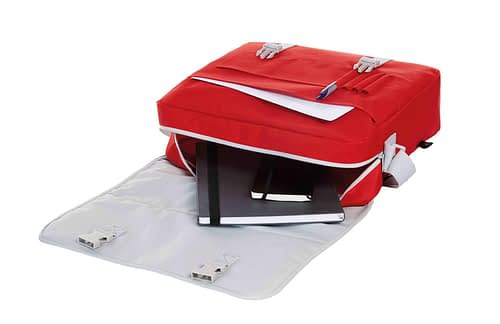 Red CONGRESS Shoulder Bag Laying Down, Open