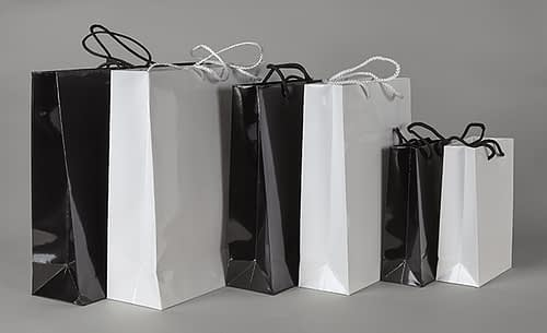 6 Stock Laminated Luxury Paper Bags in black and white